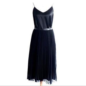 BR pleated chiffon high-waisted midi skirt black 0